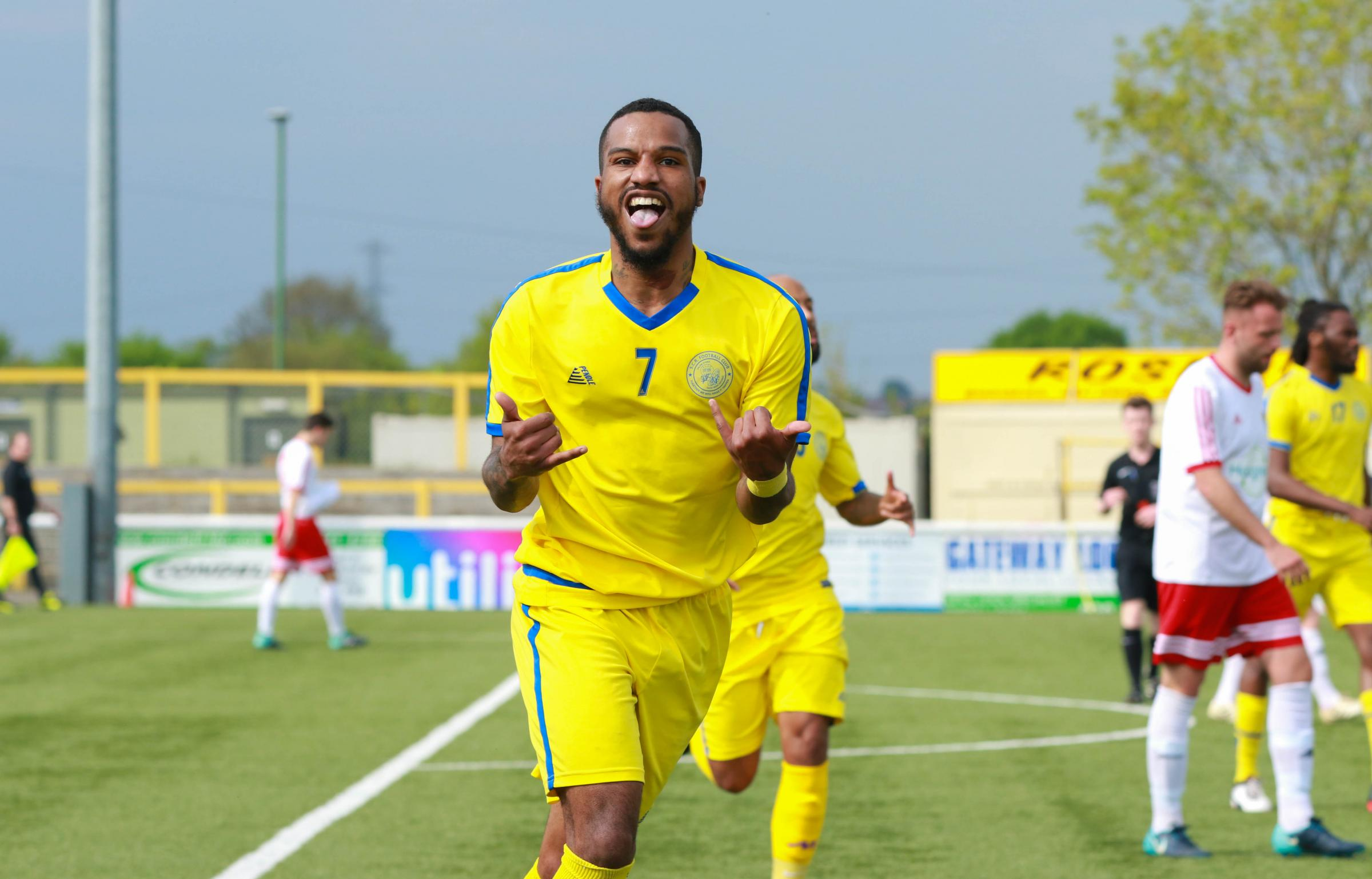 Michael Campbell celebrates his goal for Sutton Common Rovers