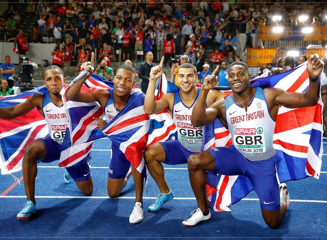 From left to right: Chijindu 'CJ' Ujah, Zharnel Hughes, Adam Gemili, and Harry Aikines-Aryeety