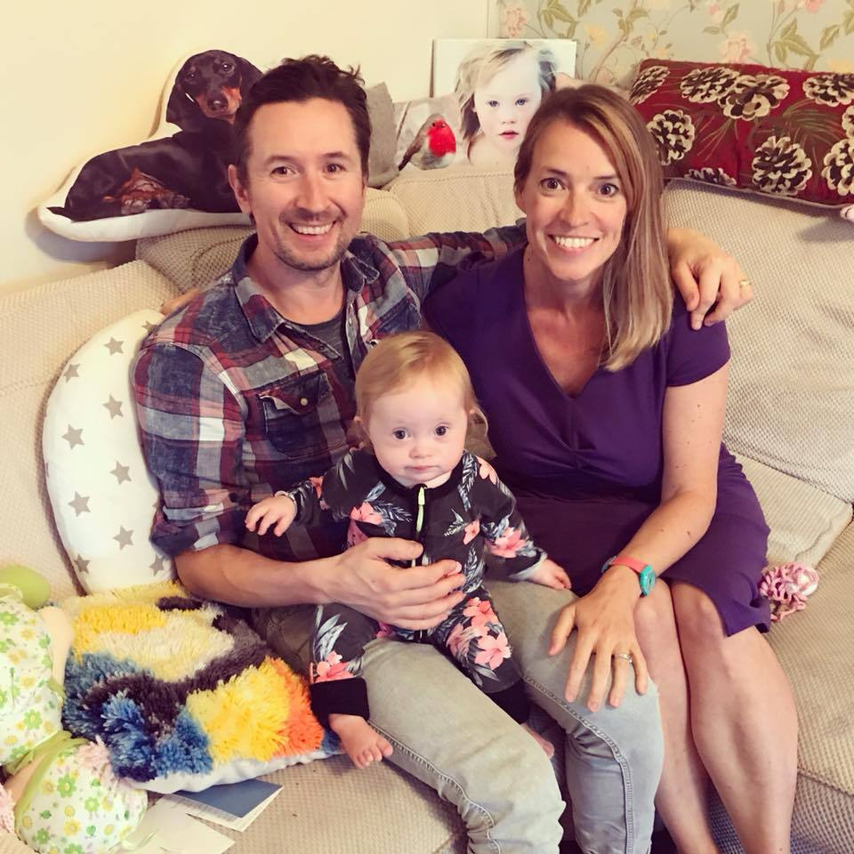 Coraline (centre) with parents Kevin and Liz from Coraline and Us